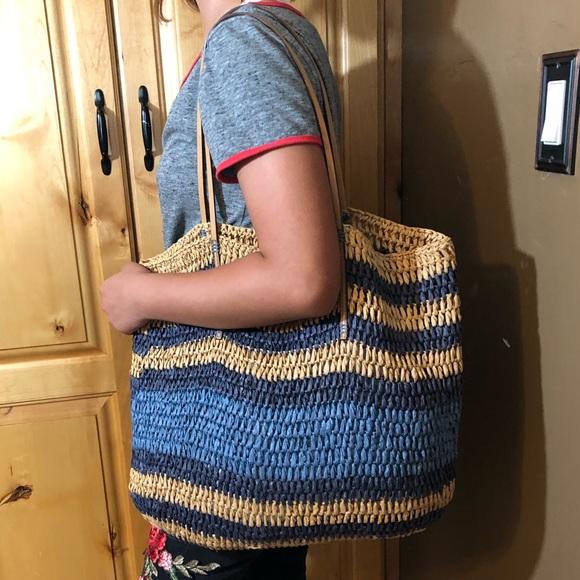 LOFT Handbags - LOFT Striped Straw Beach Tote Bag